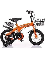 دراجة أطفال ZHITONG مع عجلات تدريب وزجاجة مياه 40.64 سم، برتقالي، مقاس S