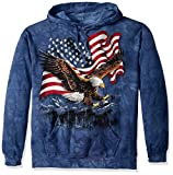 The Mountain Men's Eagle Talon Flag Hooded Sweatshirt, Blue, Extra Large