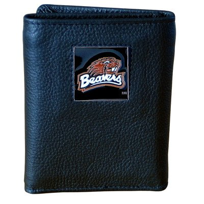 (Oregon St. Beavers Genuine Leather Tri-fold Wallet)
