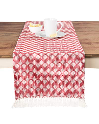 Sticky Toffee Cotton Woven Table Runner with Fringe, Scalloped Diamond, Valentines Day Red, 14 in x 72 in