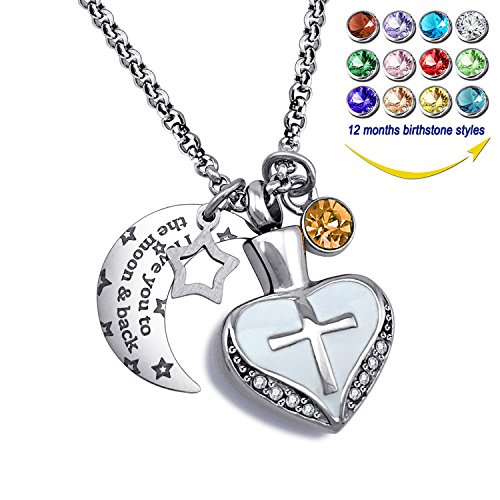 YOUFENG Urn Necklaces for Ashes I Love You to The Moon and Back Cross Necklace Birthstone CZ Keepsake Pendant (November Birthstone urn) ()