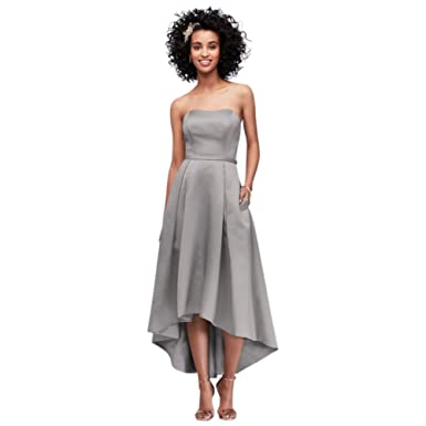 1772b4c735a High-Low Satin Bridesmaid Dress with Pockets Style F19623 at Amazon ...