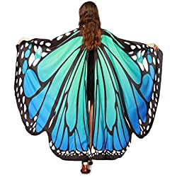 Hemlock Butterfly Shawl, 2018 New Womens Halloween Butterfly Wings Shawl Cape Scarf Fairy Poncho Shawl Wrap Costume Accessory (Blue)
