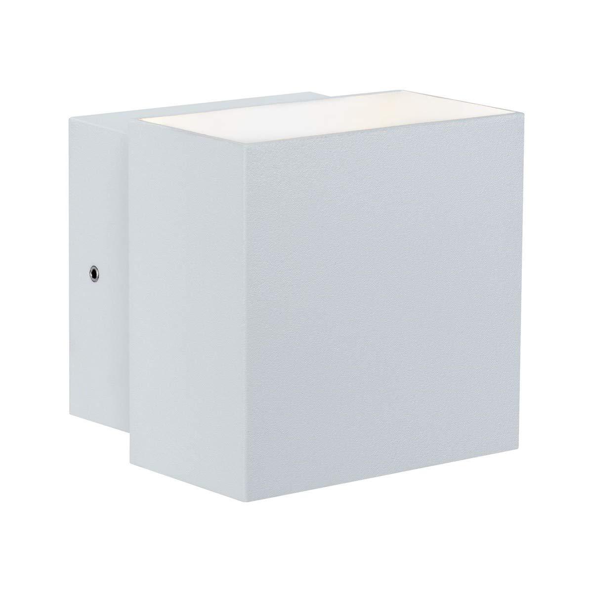 Paulmann 18003 Wandaufbauleuchte Hauswand LED Orientierungslicht Cybo eckig Lampe 2x3W weiß 100x100 mm Außen IP65 strahlwassergeschützt Lichtakzente UNKWN 180.03