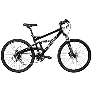 2018 Gravity FSX 1.0 Dual Full Suspension Mountain Bike with Disc Brakes, Shimano Shifting (Black, 19in)