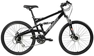 2018 Gravity FSX 1.0 Dual Full Suspension Mountain Bike with Disc Brakes, Shimano Shifting (Black, 15in)