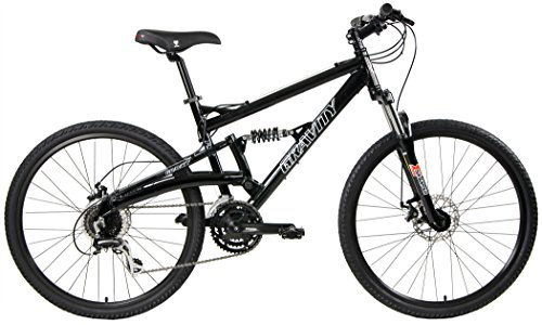 2018 Gravity FSX 1.0 Dual Full Suspension Mountain Bike with Disc Brakes, Shimano Shifting (Black, 21in)
