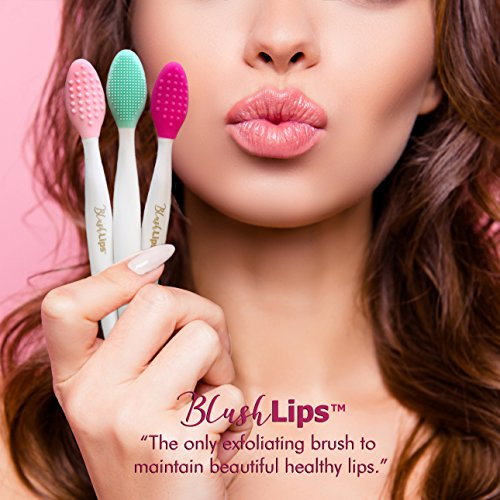 BlushLips, 2-1 Double-Sided Silicone Exfoliating Lip Brush Tool, for Smoother and Fuller Lip Appearance. (Blue)