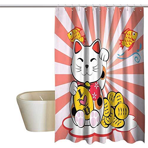 (Cat Polyester Fabric Shower Curtain Japanese Lucky Cat Meneki Neko Gold Coin Fish Koi Goldfish I Love You Red Sunlights Sun Bathroom Eastern Asian Decor Fun Coral White Yellow mens)
