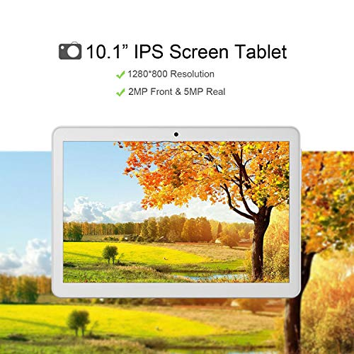 Android Tablet 10 Inch, Android 8.1 Go Unlocked Tablet PC, 3G Phablet with Dual SIM Card Slots, Google Certified, 1.3GHz, 1G+16GB, Dual Camera, WiFi, Bluetooth, GPS - Silver