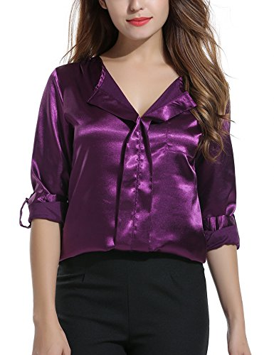 Satin Silk Blouse (Meaneor Women's V Neck Long Sleeve Dress Blouse Purple XL)