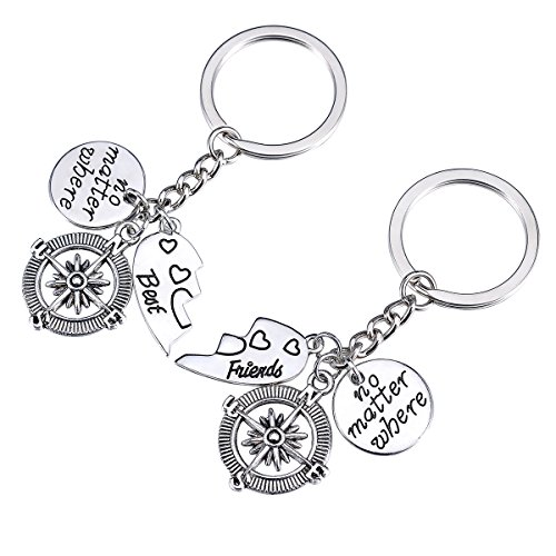 HOUSWEETY Compass Necklace Keychain Set No Matter Where Best Friends Jewelry