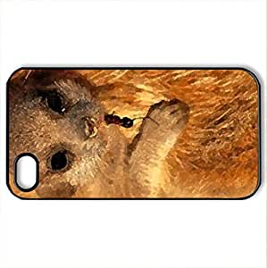 Baby meerkat - Case Cover for iPhone 4 and 4s (Rodents Series, Watercolor style, Black)