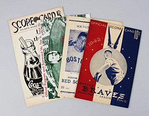 1939 Boston Red Sox vs. Atlanta Crackers Minor League Scorecard feat. Ted Williams & (3) Add. Programs