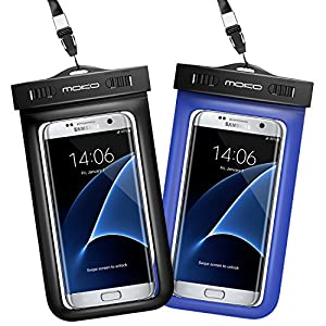 Universal Waterproof Case [2-Pack], MoKo CellPhone Dry Bag Pouch with Armband & Strap for iPhone X/8 Plus/8/7/6s Plus, Galaxy S8/S8+, LG, BLU & More - BLACK + BLUE