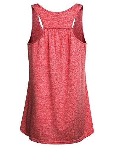 Miusey Tank Tops for Women Juniors Sleeveless Loose Fit Flowy Fitness Summer Activewear Running Yoga Workout Racerback in Sports Shirts Red M by Miusey (Image #1)