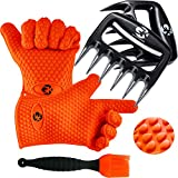GK's 3 + 3 BBQ Man's Dream Set: Silicone BBQ Grill Gloves Plus Meat Shredder Claws Plus Silicone Basting Brush Plus 3 eBooks w/ 344 Recipes for Roasting, Grilling and Baking