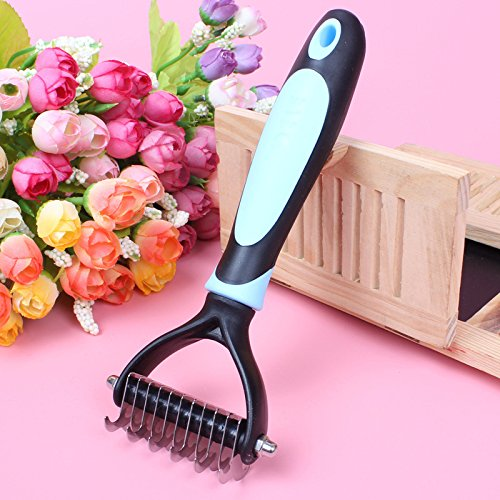 Pevor Dog Grooming - Stainless Double Use Easy Open Pet Hair, Dog Hair Combs Rake Accessories for All Breeds Cat & Dog with Medium and Long Hair Coats
