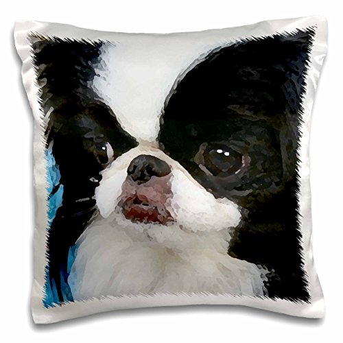 3dRose Japanese Chin - Pillow Case, 16 by 16-inch (pc_4242_1)