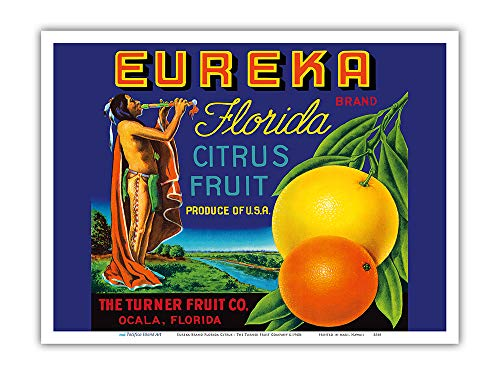 Pacifica Island Art - Eureka Brand Florida Citrus - The Turner Fruit Company - Vintage Fruit Crate Label c.1940s - Master Art Print - 9in x 12in