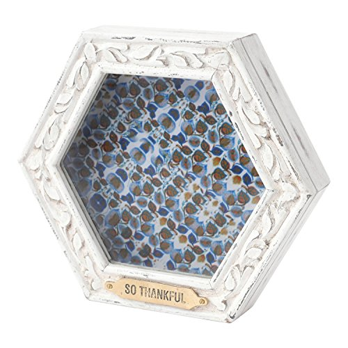 Hallmark Home Unique Shadow Box with Glass Front and Magnetic Closure, Cream Hexagon with