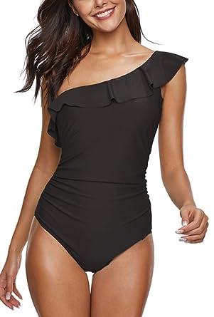 db5c35cbc679 Leslady Maillots de Bain Une Pièce Femmes Beachwear Slim Une Epaule  Asymétrique à Volants Monokinis Body