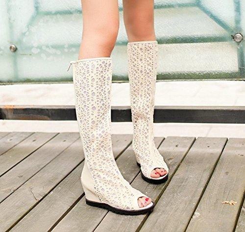Mee Shoes Damen modern süß bequem Mesh und Lackleder Reißverschluss Peep toe invisibel Heel Sommerstiefel Aprikose