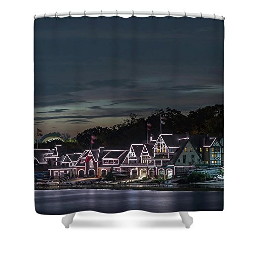 Pixels Shower Curtain (74'' x 71'') ''Boathouse Row Philly Pa Night''