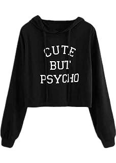 Verypoppa Women Crop Hoodie Top Letter Print Hooded Long Sleeve Pullover Sweatshirt