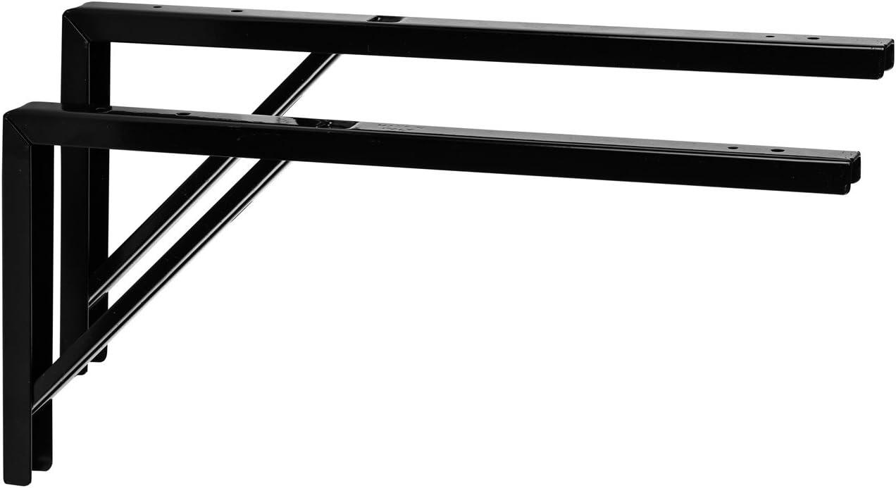 Consola Estanter/ía Consola mesa negro para estantes de metal /ángulo de garant/ía de Herraje montaje negro Apoyo revestimiento de acero para la pared, 400/x 30/x 180/mm, muebles herrajes de gedotec/®