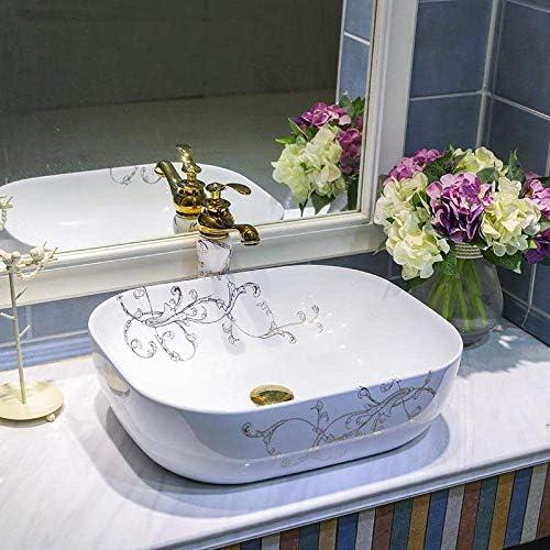 ゆば オーバル陶芸流域のシンクのカウンタートップ洗面バスルームシンクの洗面化粧台、セラミック洗面台バスルームのシンク-sink_with_faucet_3(:シンク付きの蛇口3色)磁器 (Color : Sink With Faucet 4)