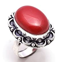 925 Sterling Silver Overlay Rings, Red Coral Gemstone Handmade Jewelry Pr373
