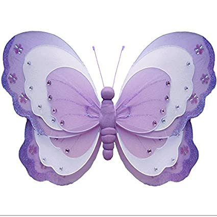 Amazon Com Hanging Butterfly Small 7 Purple Lavender White Triple