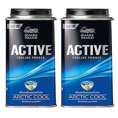 pack-2-new-releases-prickly-heat-powder-snake-brand-active-cooling-powder-arctic-cool-100-grams