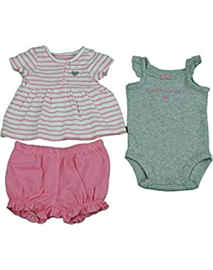 Baby Girl Size Newborn 3-Pc Shirt, Bodysuit, Shorts Pink/White/Gray