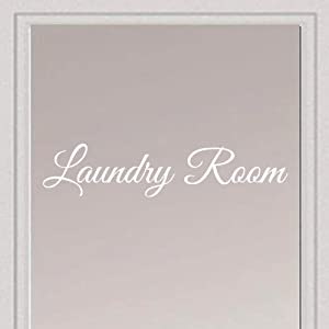 "Rockmount Electronics - Laundry Room - UV Resistant, Waterproof, Durable - Peel & Stick Wall Door Decor Decal Sticker Quote Vinyl Mural Art Script Vinyl Lettering - 15"" x 3.25"", White"
