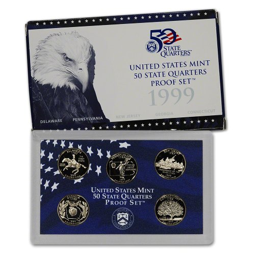 1999 S US Mint Quarters Proof Set Original Government Packaging (1999 Us Mint Quarter)