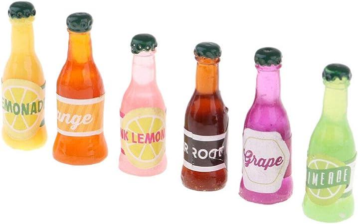 6pcs//set Kitchen Drink Wine Juice Bottles 1:12 Dollhouse Miniature Furniture IS