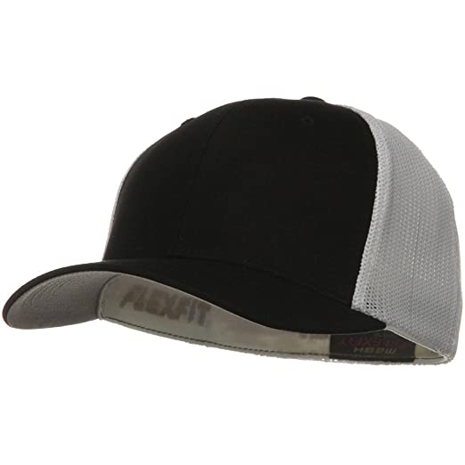 c270b593 Flexfit Mesh Cotton Twill Trucker 2 Tone Cap - Black White