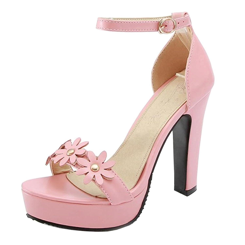 TAOFFEN Damen Sandaletten Sandalen Blockabsatz Pink2018 Letztes Modell  Mode Schuhe Billig Online-Verkauf