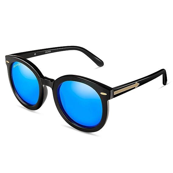 ac18a083495 VEGOOS Round Sunglasses Womens Retro Polarised Sunglasses UV400 Protection  Fashion PC Frame Sun Glasses (Blue