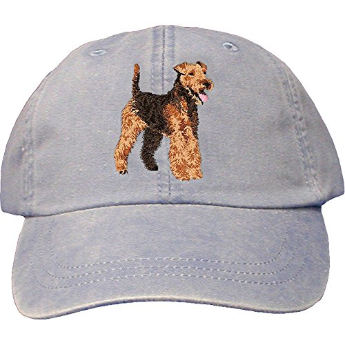 Cherrybrook Dog Breed Embroidered Adams Cotton Twill Caps - Periwinkle - Welsh Terrier (Terrier Welsh)