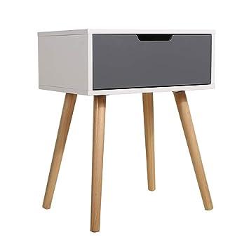 Limin Weiß/Grau Holz Side End Tisch Nachttisch Mit Schublade Massivholz  Beine Wohnzimmer Möbel