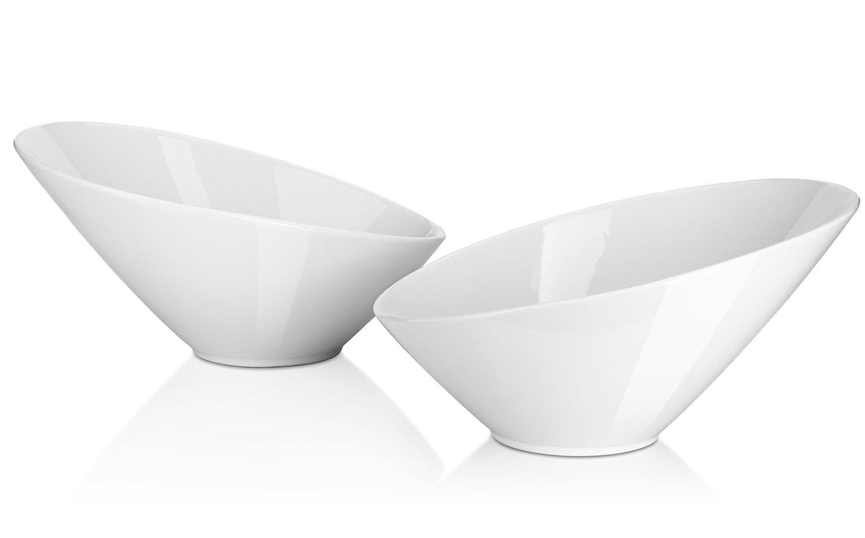 DOWAN Porcelain Angled Serving Bowls/Salad Bowls, 2 pc, 26 oz, White