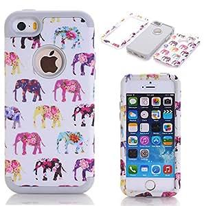 iPhone 5C Carcasa, Love Ours Triple capa rígida PC + Silicona Suave antiarañazos antigolpes funda elefante funda case cover para Apple iPhone 5C