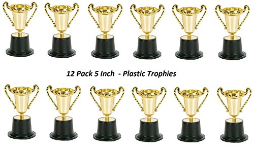 Plastic Trophies – 12 Pack 5 Inch Cup Golden Trophies For Children, Competitions, Awards, Parties, Party favors, Props, Rewards, Prizes, Games, School, Field Day, Boys And Girls - By Kidsco (Trophy Party Favors)