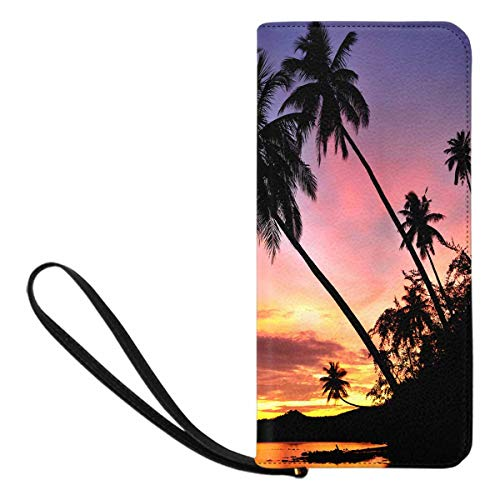 (InterestPrint Women's Palm Trees Silhouette At Sunset Cell Phone Purse Holder Wallet Passport Wallet)