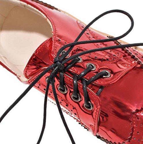 AllhqFashion Damen Schnüren Rund Zehe Niedriger Absatz PU Leder Rein Pumps Schuhe Rot