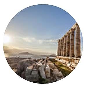 alfombrilla de ratón templo griego Poseidón, Cabo Sunion en Grecia - ronda - 20cm