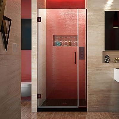 DreamLine Unidoor Plus 31 – 31 1/2 en. Ancho, sin marco con bisagras para mampara de ducha, 3/8